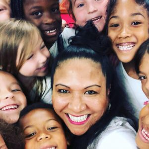 Nury selfie with children
