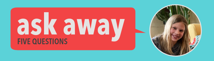 """""""As Away: 5 Questions"""" banner with Sylvi portrait"""