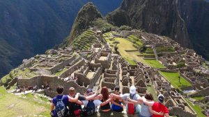 Aubrie's students in South America with ruins
