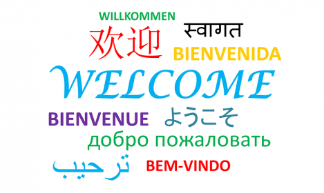 """""""welcome"""" in various languages and fonts"""