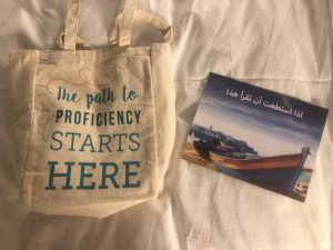 "tote bag, reading ""The path to proficiency starts here"""