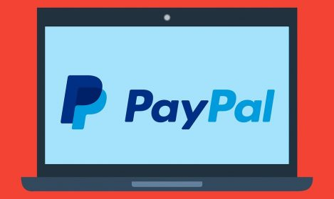 Paypal logo on an animated computer screen