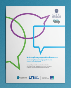 """Making Languages Our Business"" report copy on blue background"