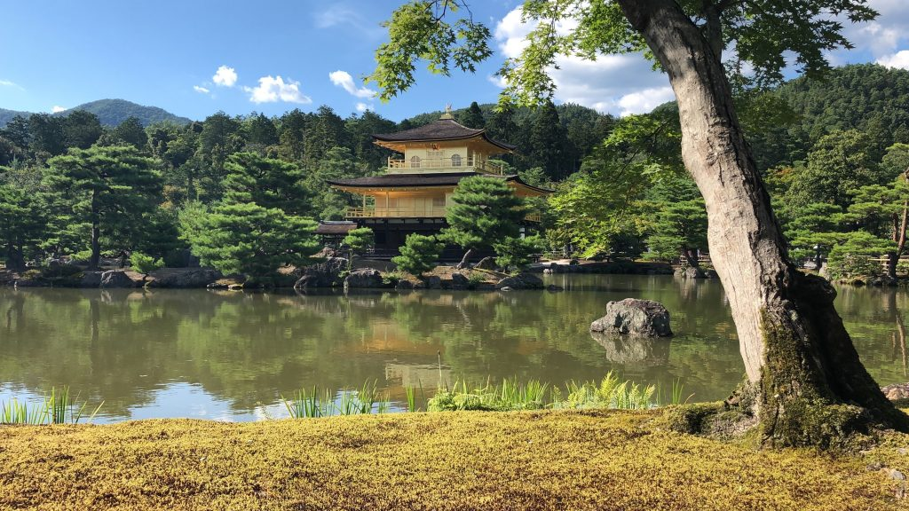 Japanese building with body of water
