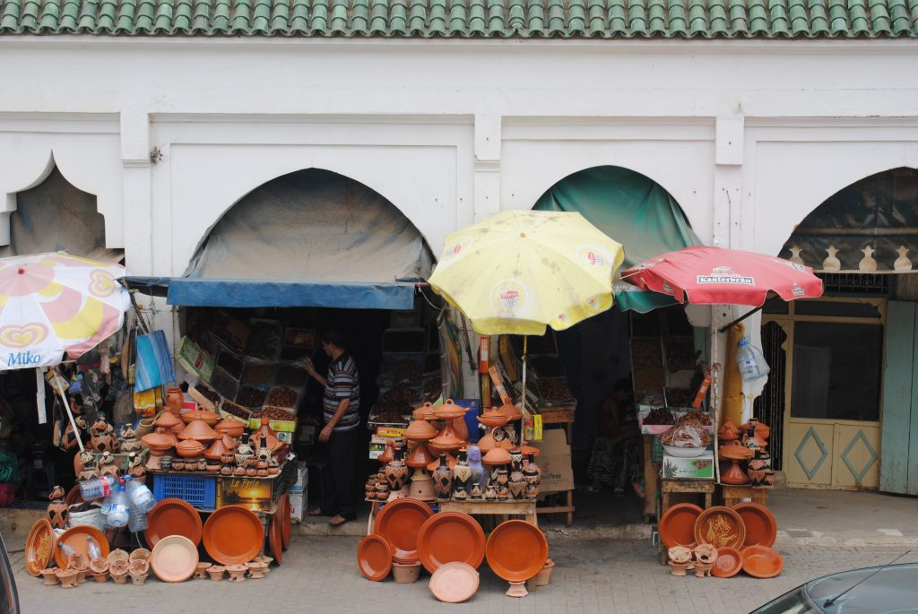 Market stall with pottery in Morocco