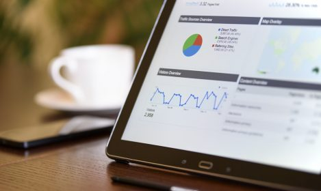 tablet showing charts and analytics