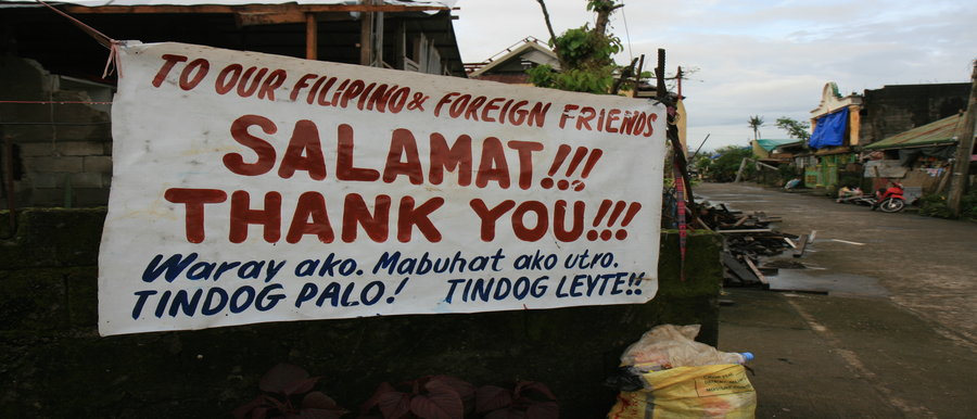 """Thank you"" sign in Tagalog"