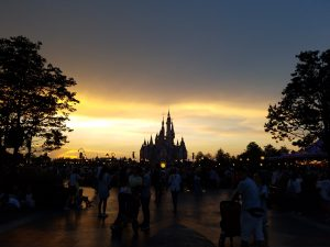 Shanghai Disneyland castle at sunset