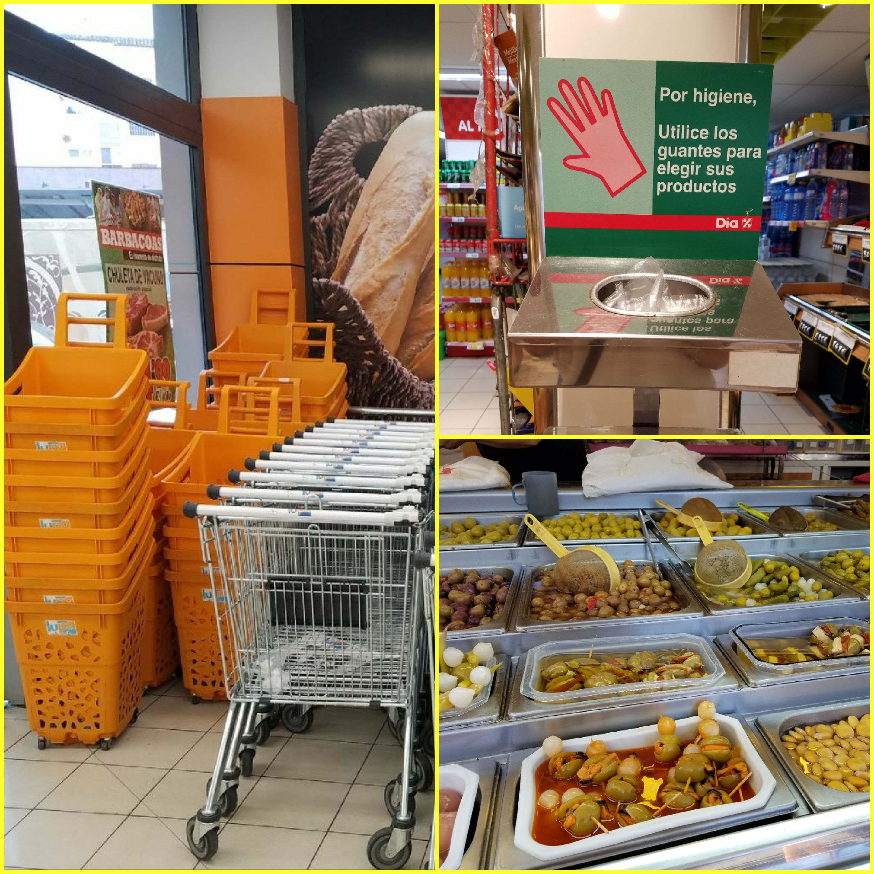 Spanish grocery store image collage