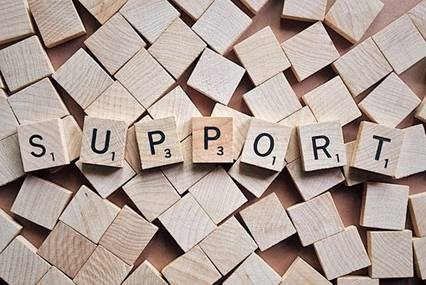"""support"" spelled out in Scrabble tiles"