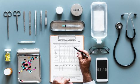 doctors' instruments on a table top
